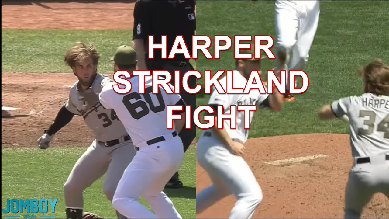 Bryce Harper and Hunter Strickland throw punches at each other, a breakdown