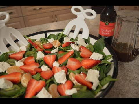 How to Make Kiwi, Strawberry & Spinach Salad with Chevre & Strawberry Lime Balsamic Vinaigrette: CWK