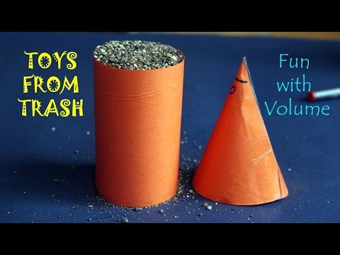 Fun with Volume | English | Cone and Cylinder Volume comparison with Sand