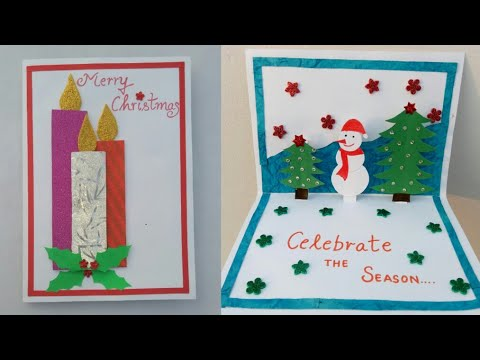 DIY Christmas card|Making popup Christmas card for kids|Snowman crafts for kids|Christmas tree card