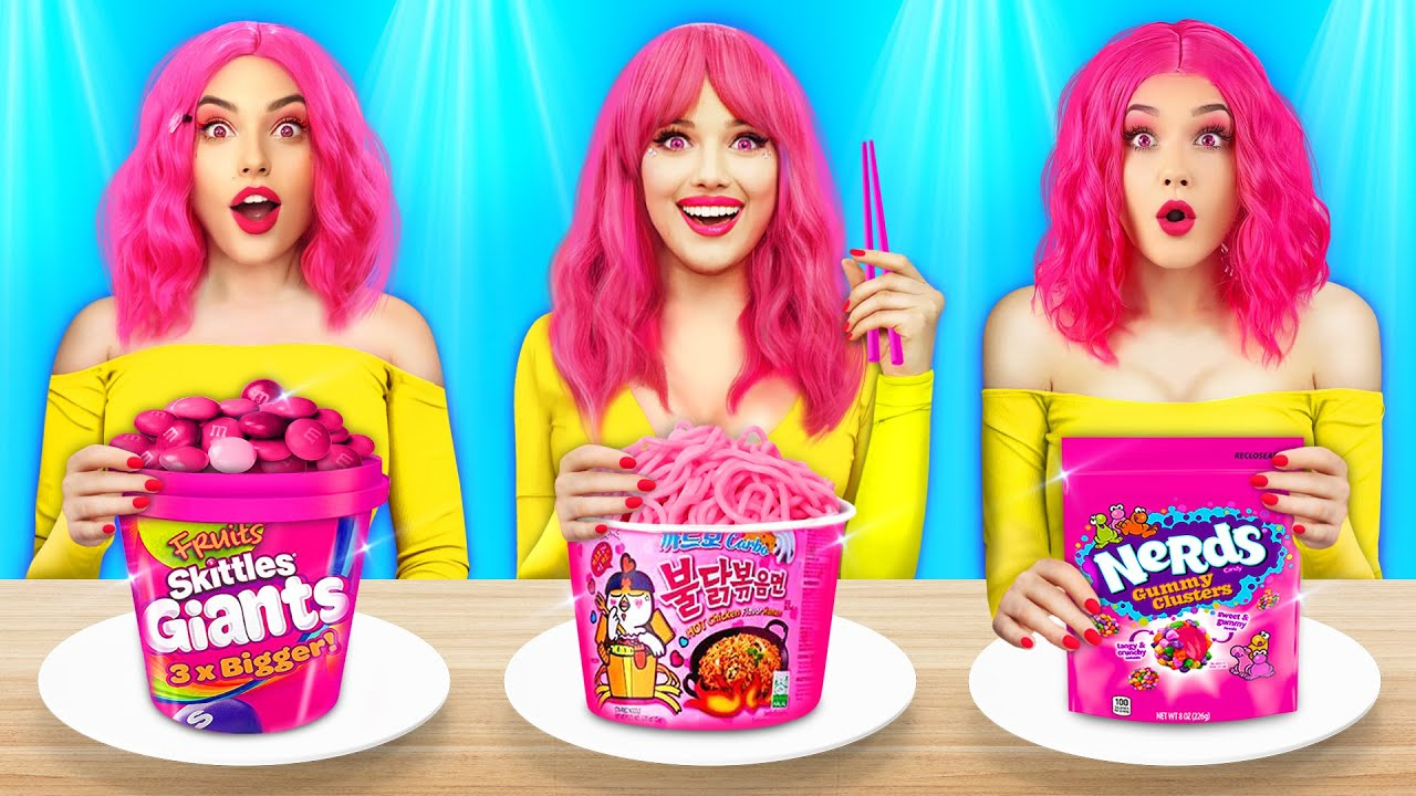 Last To Stop Eating ONLY PINK Food || Eating Big Giant vs Tiny Food by RATATA COOL