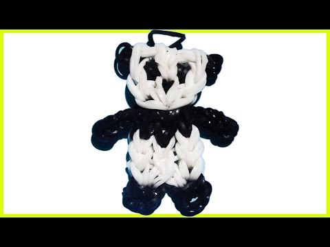 🌈 How to make loom bands animals easy Panda   Bear with forks charms for kids tutorial DIY