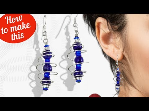 How to make these simple Lapis Spiral Earrings | Glass Beads