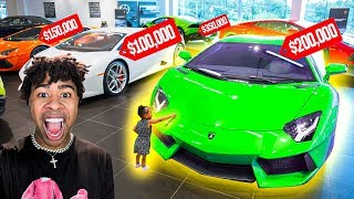 Buying Everything My Daughter TOUCHES Challenge!!! My First LAMBORGHINI!! 😳