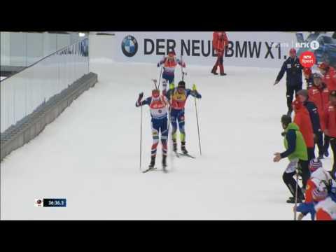 VM Oslo 2016: Johannes Thingnes Bø vs Martin Fourcade finish for mass start GOLD