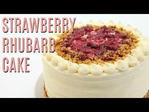 Roasted STRAWBERRY Rhubarb Almond CRUNCH Cake