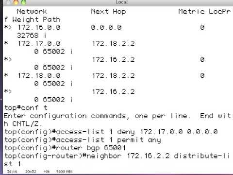 BGP route filtering