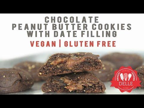 #ResepRamadhan Vegan, Gluten Free, Chocolate, Peanut Butter Cookies with Date Filling