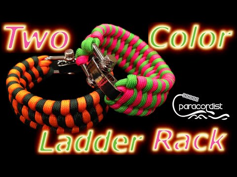 Paracordist How to Tie the Two-Color Ladder Rack Paracord Bracelet w/