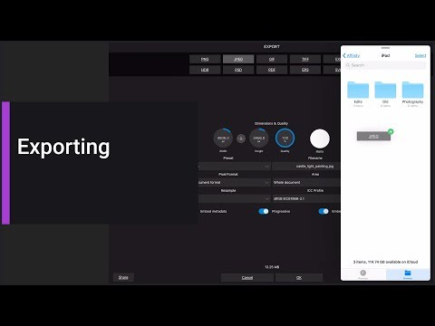 Exporting (Affinity Photo iPad)