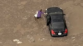Motorists stranded in massive California mudslide