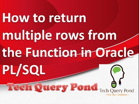 Oracle tutorial : How to return multiple values from the Function in Oracle PL/SQL