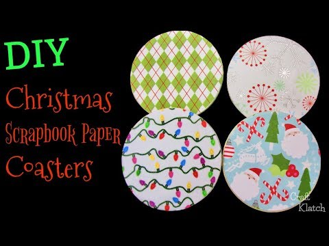 DIY Scrapbook Paper Christmas Coasters ~ Another Coaster Friday ~ Craft Klatch