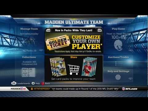 Madden 13 Ultimate Team | New 2013  Rookie Topper Cards and Golden Ticket | No Pack Opening Sorry