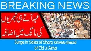 Surge in Sales of Sharp Knives ahead of Eid ul Azha | 17 August 2018 | 92NewsHD