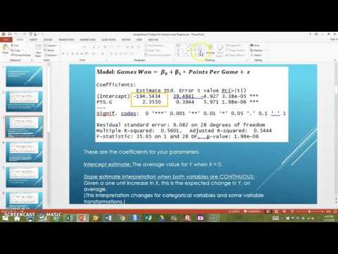 Interpreting R Output For Simple Linear Regression Part 1 (EPSY 5262)