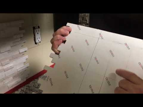 How to install Kitchen counter top Back splash self adhesive ceramic tile Video 2