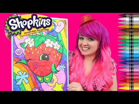 Shopkins Strawberry Kiss GIANT Coloring Page Crayola Crayons | COLORING WITH KiMMi THE CLOWN