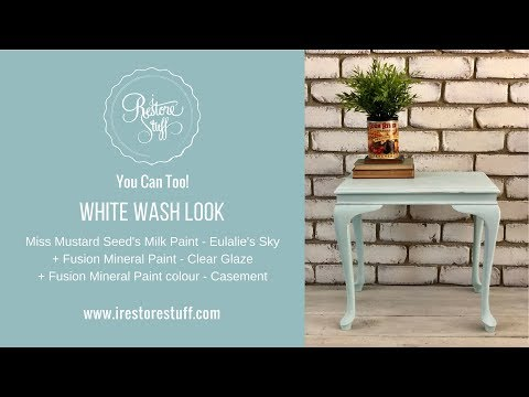 White Wash Look over Painted Furniture with Clear Glaze