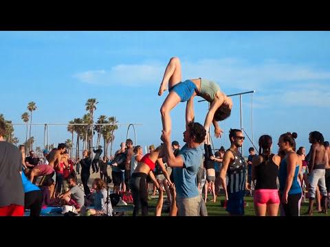 Santa Monica Original Muscle Beach Fun People at Worlds Coolest Beach!