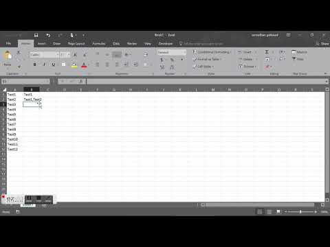 Add text or character between strings using excel
