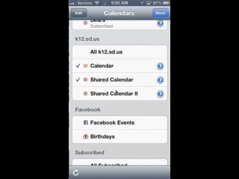 shared calendars in iOS