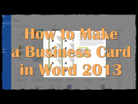 How to Make a Business Card in Word 2013