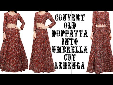 DIY: Convert Old Saree/Duppatta Into Umbrella Cut Lehenga Cutting & Stitching