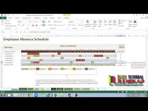 Employee Absence Schedule  Tutorial Excel 2013