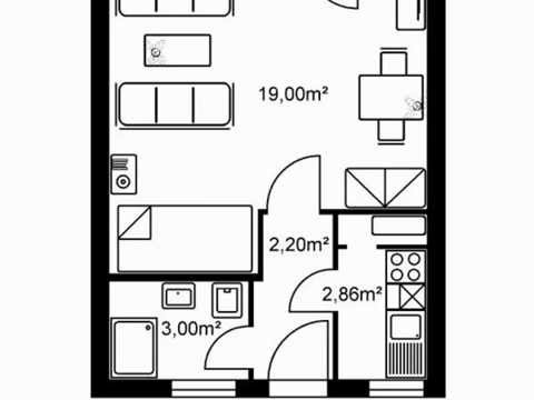Floorplan 350 sqf studio apartment Frankfurt