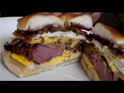 Steak, Egg, Cheese, Bagel Breakfast Sandwich -