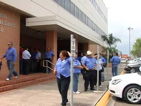 School employees protest outside BISD office