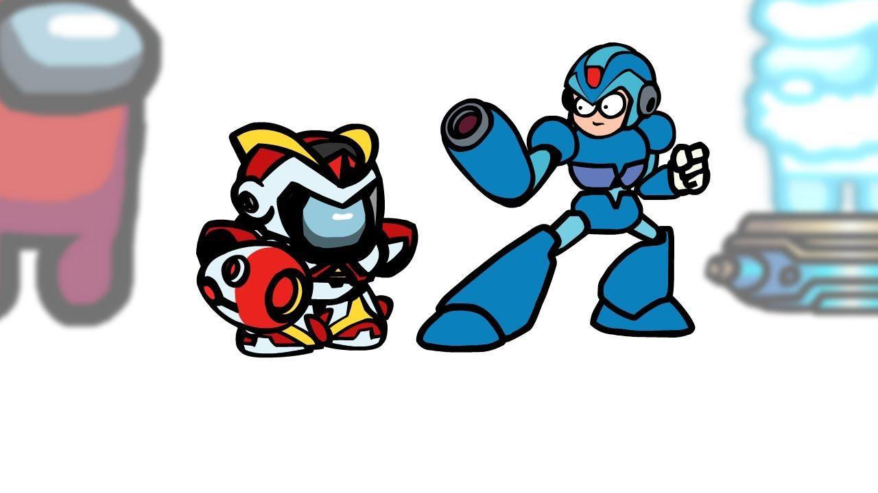Mini Crewmate Kills 6 Mega Man Characters   Among Us