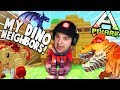 LOOKS LIKE MY NEW NEIGHBORS ARE ALL DINOSAURS NOW... MINECRAFT WITH DINOS?! | PixARK Gameplay Part 1