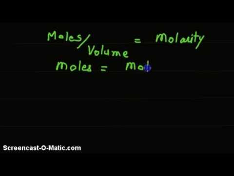 Video-Given molarity, volume of solution, find number of moles.
