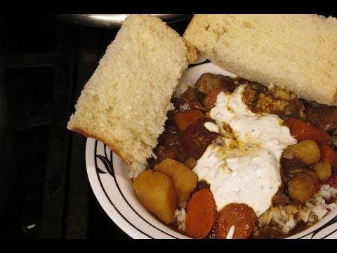 Hearty Beef stew Bourguignon stew with horseradish cream sauce