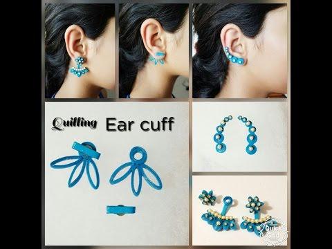 Making Ear cuff with Quilling||Back stud earrings||Eco friendly Paper earrings