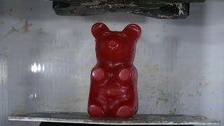 Giant Gummy Bear Crushed By Hydraulic Press Turns Into Glue!