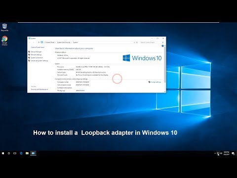 How to install a  Loopback adapter in Windows 10