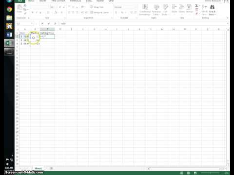 Excel 2013: How to find a total price of an item.