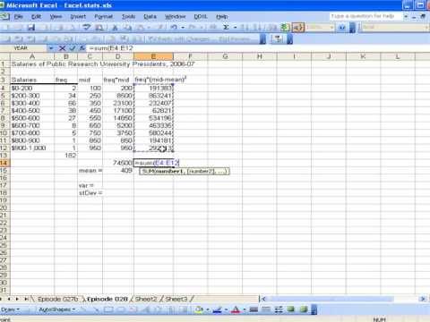 Calculating variance and standard deviation using Excel