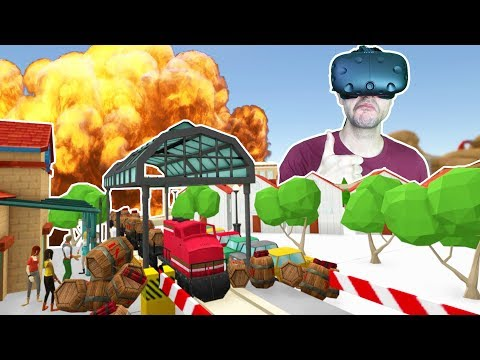 TRAIN CARRYING 1000 TONS OF TNT EXPLODES IN THE CITY! - TrainerVR HTC VIVE Gameplay
