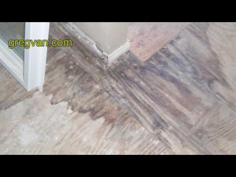 Plywood Water Stains from Water Leaks - Bathtub Tile Damage from Poor Installation