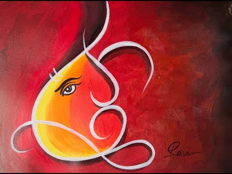 How to make acrylic  Ganesha painting : : step by step tutorial