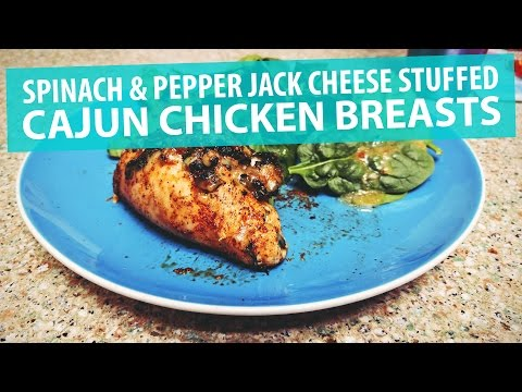 Spinach & Pepper Jack Cheese Stuffed Cajun Chicken Breasts Recipe | Ketogenic Diet | LCHF