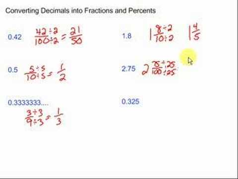 Converting Decimals into Fractions and Percents