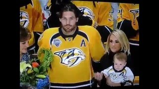 Mike Fisher honored for his 1000th Game in the NHL