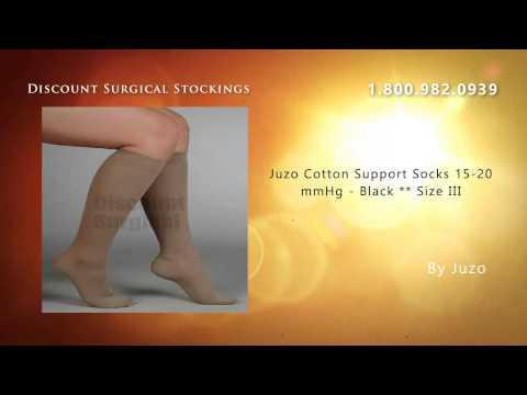 Juzo Cotton Support Socks 15-20 mmHg - Black ** Size III buy
