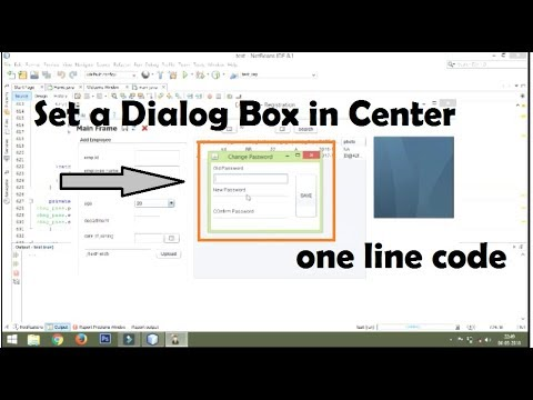 how to set a dialog box in center of the screen using one line code | java netbeans tutorial #29