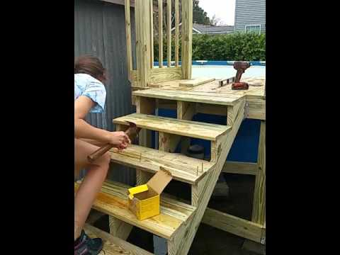 12 Year Old Girl Builds Pool Staircase and Deck (Part 2)